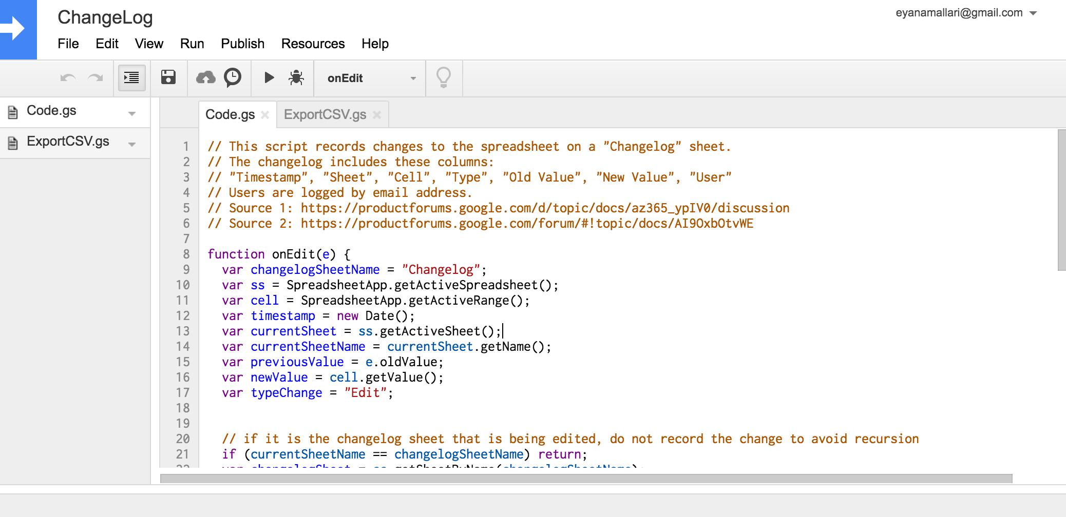 Create a Simple Changelog using Google Apps Script | Eyana Mallari
